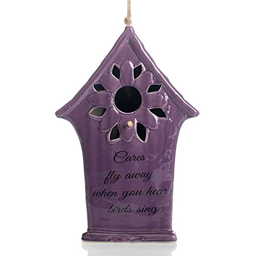 Ceramic Birdhouses - Drew DeRose Purple Cares Fly Away When Hear Birds Sing Sunflower 11 x 6 Ceramic Birdhouse