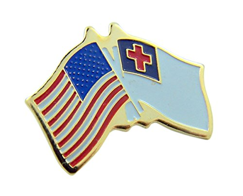 Gold Tone Enameled American and Christian Flag Lapel Pin, 5/8 Inch