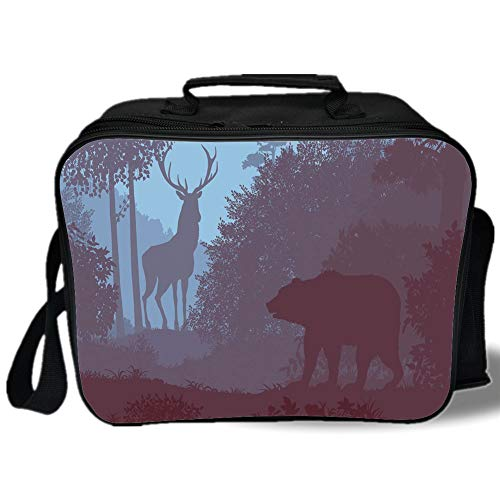- Insulated Lunch Bag,Cabin Decor,Grizzly Bear and Antler Mysterious Woods Smoky Jungle Fauna Landscape,Sky Blue Dried Rose,for Work/School/Picnic, Grey
