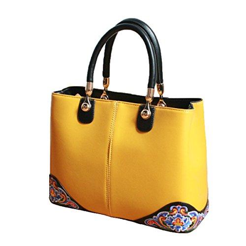Bolso De Cuero De La Moda Del Bolso De La Mujer Bolso De Bordado De La Bolsa De Hombro Del Estilo Chino amarillo