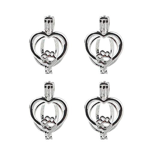 - 10x Love Heart Dog Paw Pearl Cage Pendant Fit Essential Oil Diffuser Necklace
