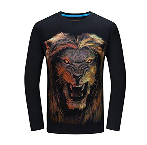T 3d shirt Niseng Casual Lupo Uomo Collo Stampa Lungh Maniche Rotondo Jsnero Maglietta PTxTAqvn