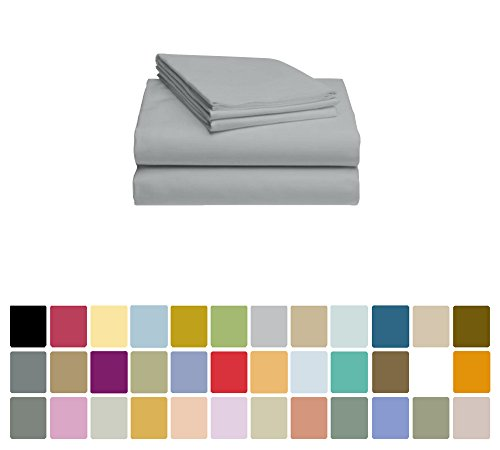 LuxClub Bamboo Sheet Set - Viscose from Bamboo - Eco Friendly, Wrinkle Free, Hypoallergentic, Antibacterial, Moisture Wicking, Fade Resistant, Silky, Stronger & Softer than Cotton - Light Grey - Full