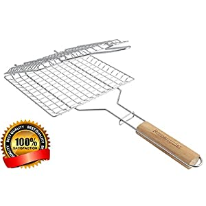 ROMANTICIST Heat-Resistant Wood Handle - Stainless Steel BBQ Grilling Basket for Roast fish Vegetable Shrimp Fruit Meat Seafood - Best Barbecue Wok Topper Accessories Gift for Men Dad