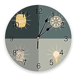wanxinfu Home Decor Wall Clock, Wine Barrel Rudder Stump Cartoon Design - Silent Non Ticking Home Office School Decorative Art Noiseless Round Wall Clock, Battery Operated (11.8 Diameter)