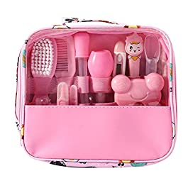 Hothuimin Deluxe 14-Piece Baby Healthcare and Grooming Kit, Complete Nursery Care Kit (Pink)