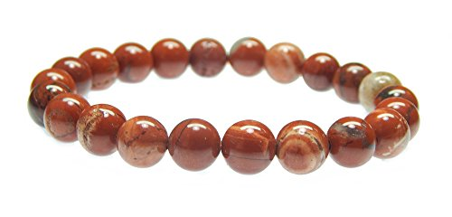 - Myhealingworld Natural Red Jasper 8mm Bead Handmade & Classy Healing Reiki Stretchable Bracelet