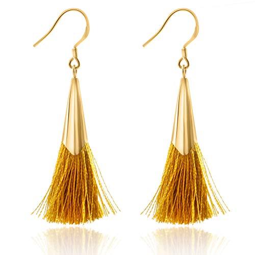 Tassel Earrings Dangle Drop 925 Silver French Hook Jewelry for Women's (Yellow)