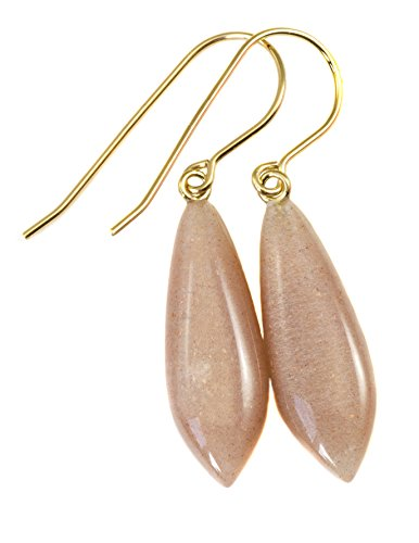 - 14k Gold Filled Moonstone Earrings Peach Pink Smooth Dainty Teardrops Shimmery Iridescence