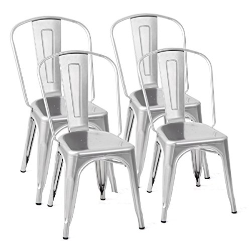 Set of 4 Tolix Style Dining Side Chair Stackable Bistro Cafe Chic Metal Silver with Ebook