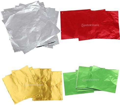 4色x100枚 ホイルラッパー パッケージ お菓子 チョコレート アルミ箔 DIY