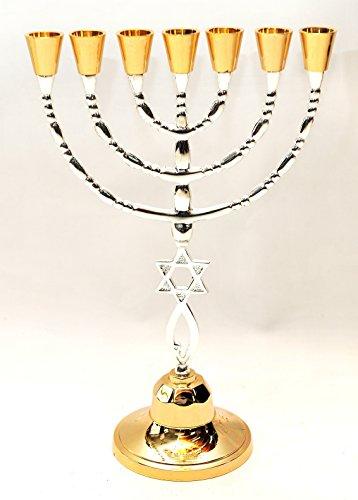 Menorah Gold & Silver Plated W/ Magen David From Holy Land Jerusalem H/30 x W/20 CM by Jerusalem Menorah