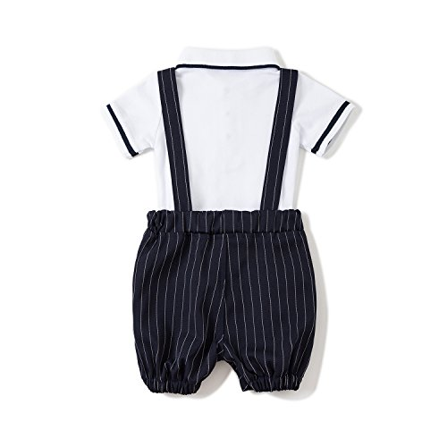 Baby Boys Gentleman Jumpsuit Outfits Suits Bow Tie Overalls Clothes Set (0-6Months, Blue) by Baby Love (Image #1)'