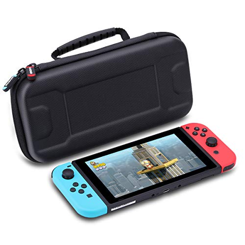 Carrying Case Compatible with Nintendo Switch, AWANFI Protective Hard Portable Travel Carry Case for Nintendo Switch Accessories (Black)