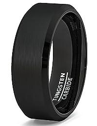 Mens Wedding Band Black Brushed Beveled Edge Tungsten Ring 8mm Comfort Fit