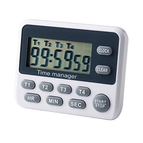 Event Digital Timer - AIMILAR Countdown Kitchen Timer Clock Alarm 4 Event Digital Count Up Down Stopwatch Timer with Alarm for Classroom Cooking Kids Teachers Magnetic with Alarm