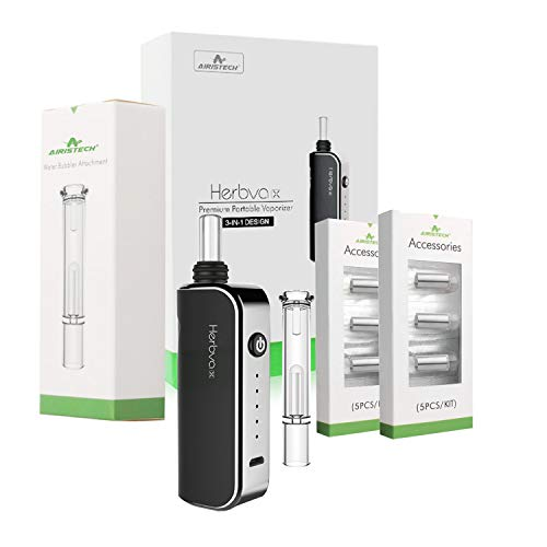 Herbva X - 3 in 1 Oil Wax Herbs Complete Premium Portable Bundle V-A-P-O-R - Comes Water Bubbler - Replacement Vaporizer Cigarette