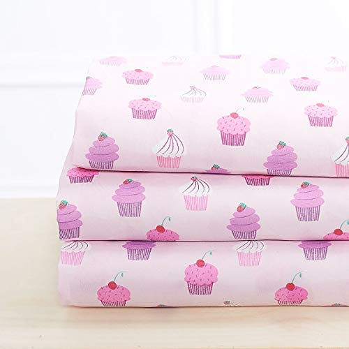 Elegant Home Multicolors Pink Purple Cupcakes Design 4 Piece Printed Sheet Set with Pillowcases Flat Fitted Sheet for Girls/Kids/Teens # Cupcake (Queen Size) -