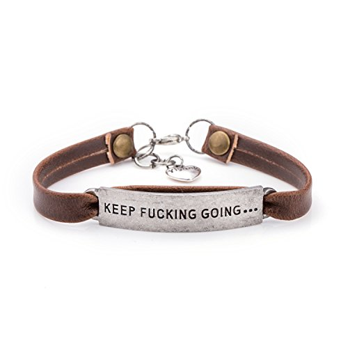 UNQJRY Leather Bracelets for Friends Inspirational Engraved Personalized Gift Jewelry Keep Fucking Going by UNQJRY (Image #5)