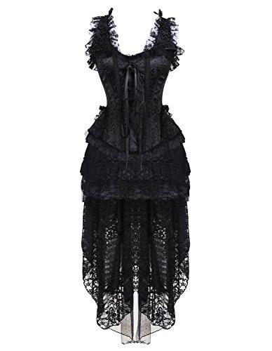 Steampunk Gothic Rock Kleid Schwarz Corest Kimikal Damen Set 55 und S65qOPw
