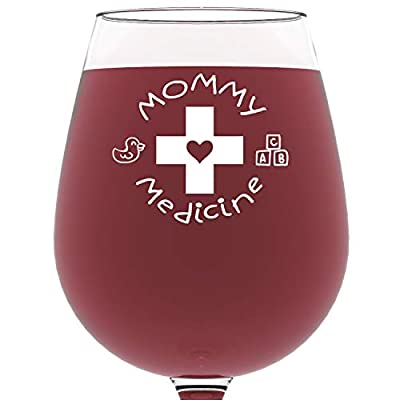 Got Me Tipsy Mommy Medicine Funny Wine Glass - Birthday Gift Idea for Mom, Gifts for Women - 13-Ounce, Glass