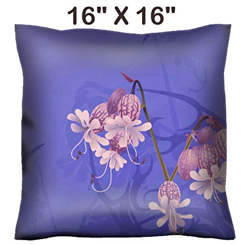 Liili 16x16 Throw Pillow Cover - Decorative Euro Sham Pillow Case Polyester Satin Soft Handmade Pillowcase Couch Sofa Bed Beautiful Flower Background A Beautiful Flower with Art Nouveau Swirls Photo (Back Nouveau Zip)