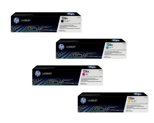 HP Part # CE310A, CE311A, CE312A, CE313A OEM Toner Cartridge Set, Office Central