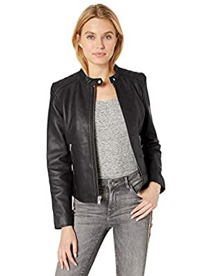 Marc New York by Andrew Marc Womens MW9A1743 Goldie Long Sleeve Leather Jacket - Black - Medium