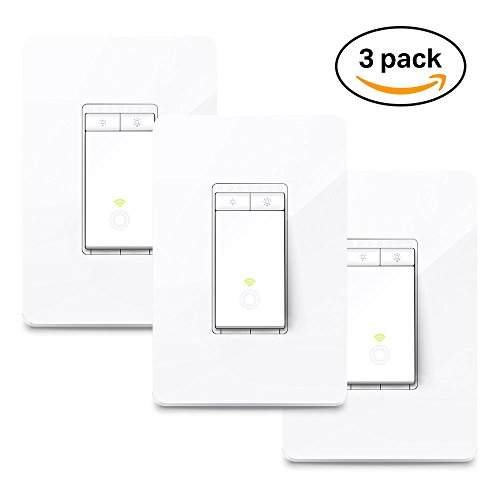 Price comparison product image Kasa Smart Wi-Fi Dimmer Light Switch 3-Pack by TP-Link - Dim Lighting from Anywhere, Easy In-Wall Installation (Single-Pole Only), Compatible with Alexa and Google Assistant (HS220P3)