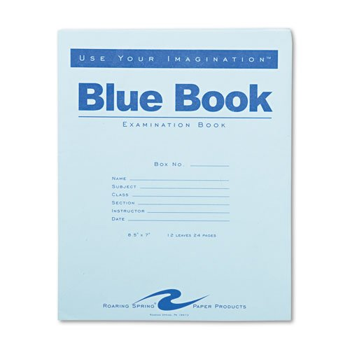 Roaring Spring Exam Blue Book  Margin Rule  8 1 2 X 7 Inches  White  12 Sht 24 Page  77513