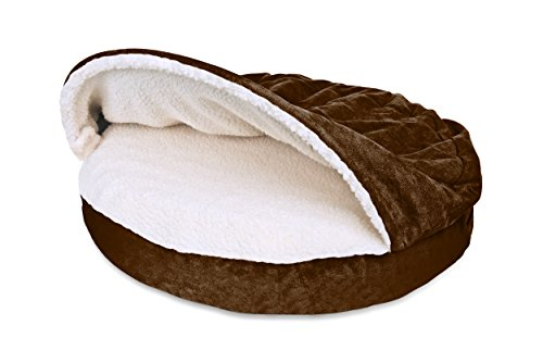 Furhaven Pet Dog Bed | Memory Foam Round Faux Sheepskin Snuggery Burrow Pet Bed for Dogs & Cats, Espresso, 35-Inch by Furhaven Pet (Image #1)