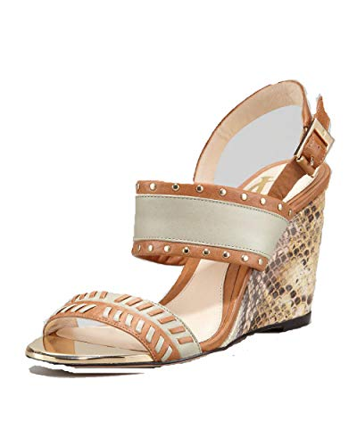 Vince Camuto Signature Imperia Snake-Print Wedge Sandal Brown,8.5