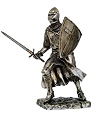 Crusader Knight Statue Silver Finishing Cold Cast Resin Stat