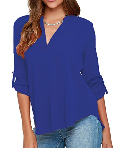 elady-sexy-loose-fitting-chiffon-blouse-top-for-women-v-neck-shirt-blue-l