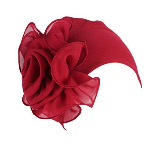 Women Ladies Retro Big Flowers Hat Turban Brim Hat Cap (Red)