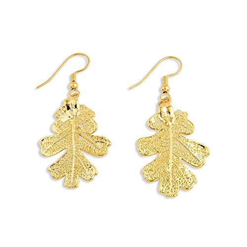 (IceCarats 24k Gold Dipped Oak Leaf Dangle Earrings)
