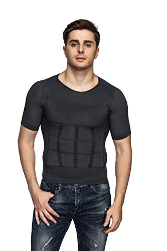- Odoland Men's Body Shaper Slimming Shirt Tummy Waist Vest Lose Weight Shirt, Men's Elastic Sculpting Vest Thermal Compression Base Layer Slim Compression Muscle Tank Shapewear Men
