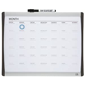 quartet magnetic dry erase calendar board 11 x 14 inches 1 month design blacksilver frame 79368