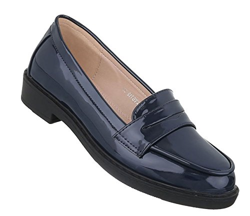 Damen Halbschuhe Schuhe Moderne Slipper Dunkelblau