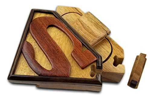 (Oberstuff Superman All Natural Exotic Woods Puzzle Box, 5.5 x 4 x 2.5 with Sliding Wooden Key Lock, Sliding Cover and Inner Lid to Hidden Compartment. Hand-Made Wood Onlay Design)