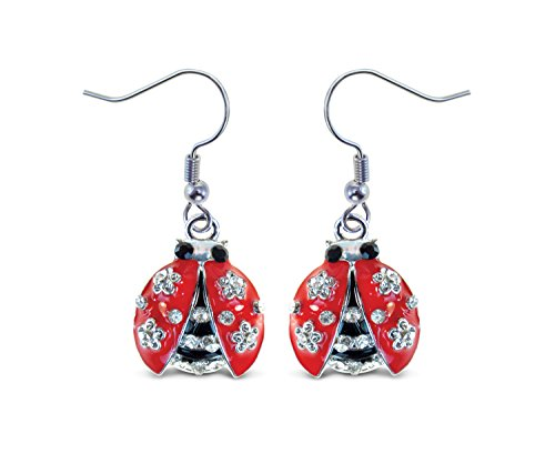 Puzzled Silver & Red Ladybug Fish Hook Earrings, 1.5 Inch Fashionable & Elegant Jewelry Rhinestone Studded Earring for Casual Formal Attire Insect Bugs Themed Girls Teens Women Fashion Ear -