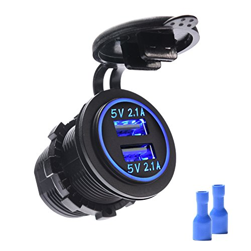MICTUNING Dual USB Car Charger 4.2A with Blue Light for iPhone, Galaxy, iPad, GPS for Car Boat Motorcycle Marine (Socket Round Pin Outlet)
