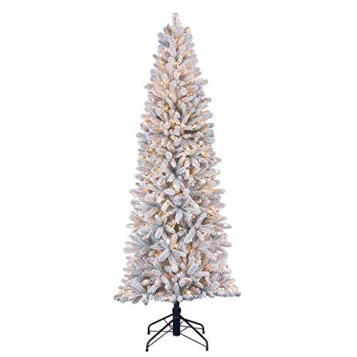 Home Heritage 7 Foot Frosted Alpine Quick Set Snowy Flocked Christmas Tree with Warm White Surebright LED Lights and Stand (For Tree Home)
