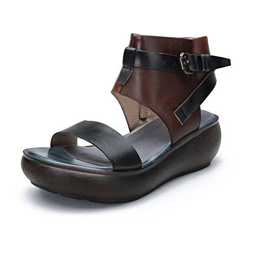 Minority Style Transpirable 7335 Vintage De Metal Sandalias con Mejorar De KJJDE Hebilla Mujer Cinturón HUIGU Cremallera Moda De Sandalias Planas xwX0ZRZUqY
