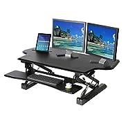 Seville Classics Adjustable Cubicle Corner Standing Desk Ergonomic Workstation with Keyboard Tray