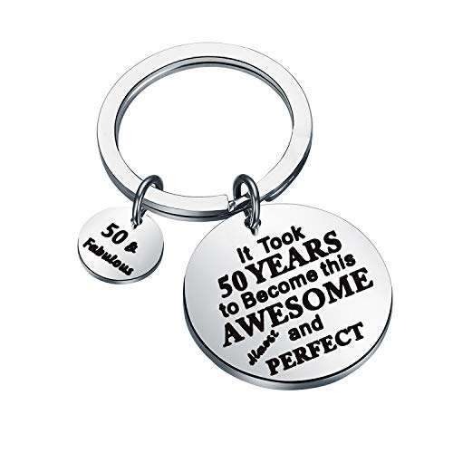 LQRI 50th Birthday Keychain 50th Birthday Gifts for Women and Men - 50th Key Ring 50 Year Old Presents for Mom, Dad, Grandma, and Grandpa