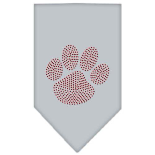 Paw Red Rhinestone Dog Bandanas Grey Large