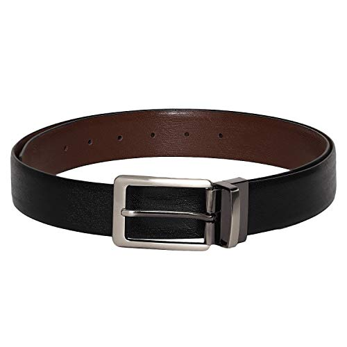 - Otuoro Men's Handmade texture Black and Lite Brown leather belt with brushed nickle finish prong reversible buckle
