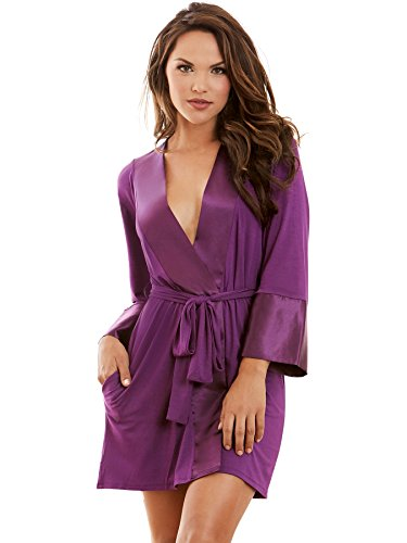 Dreamgirl Women's Jersey Robe with Belt and Inside Pocket, Plum -