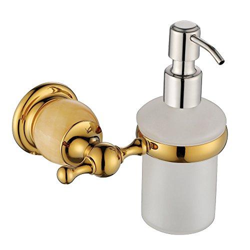 YKT Brass Hand Washing Liquid Bottle and Holder Sink Soap Dispenser Wall Mounted Modern Bathroom Accessory Gold Finish